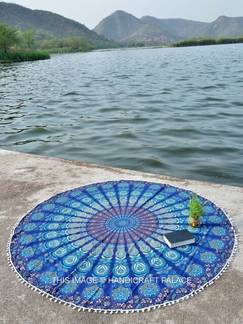 Hippie Mandala Round Tapestries Wall Hanging Cotton Tapestry Beach Blanket Throw