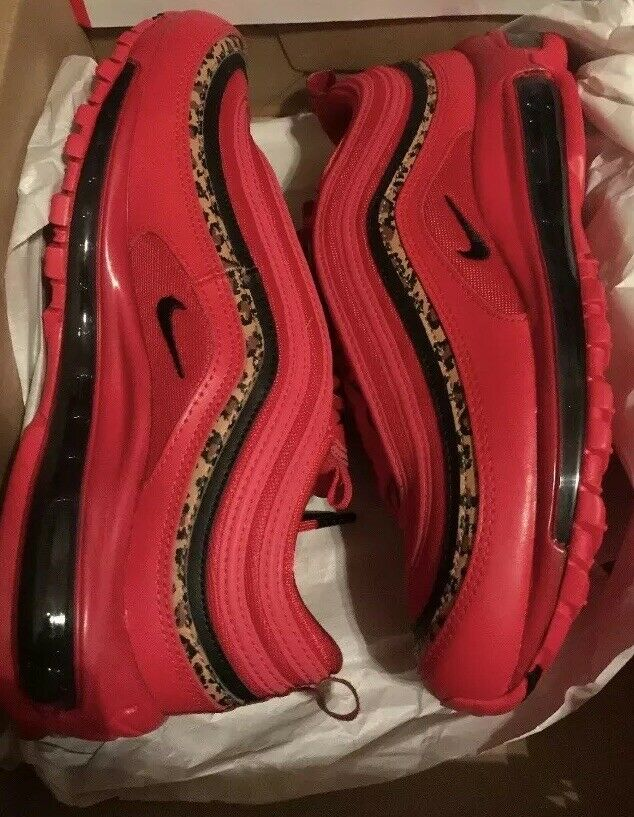 "Nike Women's Air Max 97 ""Red Leopard Pack"" Size 7 BV6113 600 Red Black-Print"