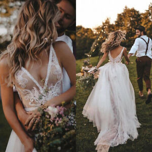 Sexy-Lace-Garden-Wedding-Dresses-V-Neck-Backless-Tulle-Beach-Bridal-Gown-Custom