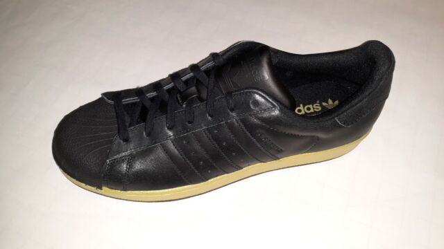 adidas Superstar Shell toe BB8119 Black Gold Metallic Size US 9