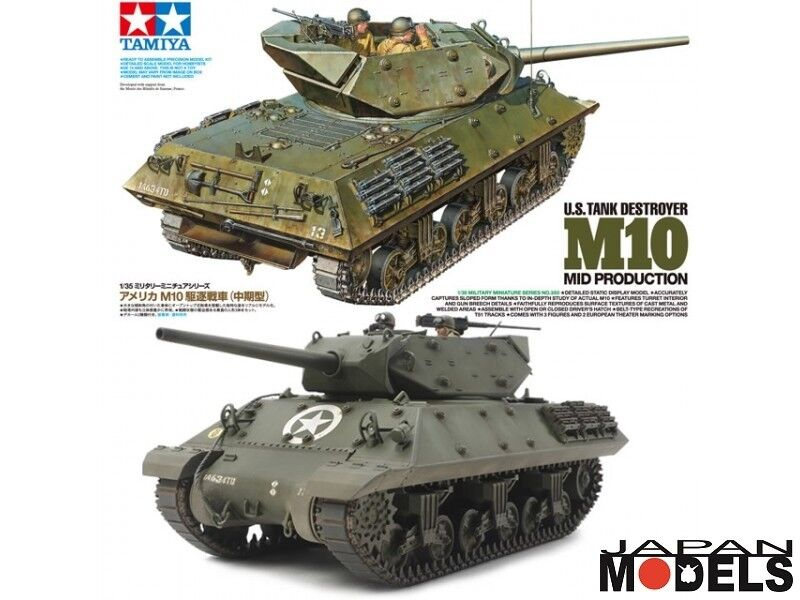 U.S TANK DESTROYER M10 Mid Production 3 Figures1 35 Tamiya 35350 Model Kit New