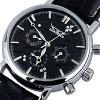 JARAGAR Men Women Luxury Casual Leather Wrist Watch Auto Mechanical Day Date New
