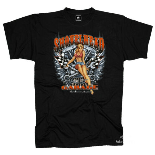 4084 Noir Biker T-shirt Shovelhead moteur Motif Moto Garage Pinup Girl