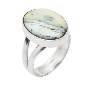 Natural-Dendritic-Agate-Gemstone-925-Sterling-Silver-Ring-Size-8-5