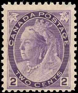 Canada-76-mint-F-VF-OG-NH-1898-Queen-Victoria-2c-purple-Numeral-CV-127-50