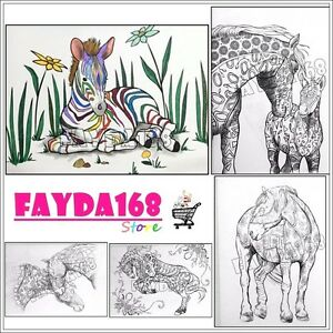 Coloring Book For Adults Horses Animals Relief Therapy