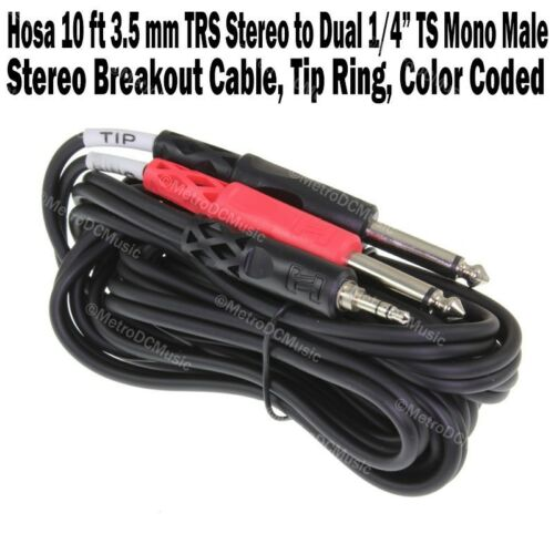 """2-Pack Hosa 10 ft 3.5mm TRS Stereo to Dual 1//4/"""" TS Mono Breakout Cable Tip Ring"""