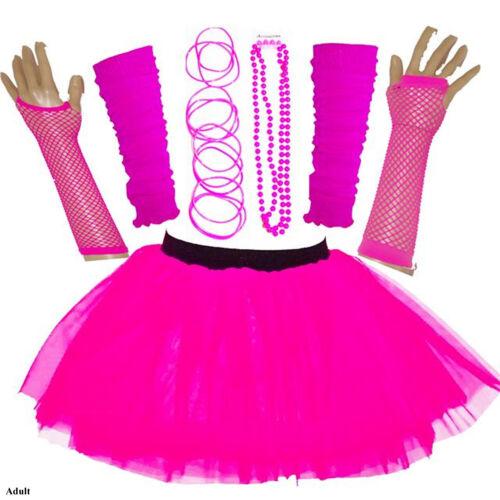NEW WOMENS HEN PARTY 80S FANCY DRESS ACCESSORIES NEON TUTU SKIRT SET BANGLE PINK