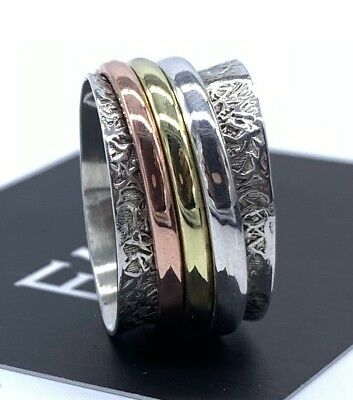 925 Sterling Silver Mens Ladies Spinner Ring Band Spinning Stress Worry