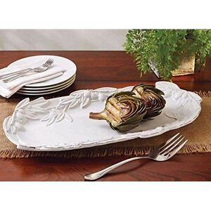 NEW-MUD-PIE-OVAL-OLIVE-PLATTER-21-034-Oversized-White-Glazed-Serving-Tray