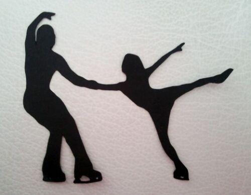 5 x iceskaters patinage sur glace Silhouette Die Cuts Qualité Carte Noire