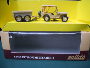 SOLIDO-MILITAIRE-JEEP-WILLYS-REMORQUE-4-ROUES-VERY-RARE-MINT-IN-BOX