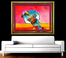 PETER MAX Original Signed PAINTING Large UMBRELLA MAN Pop ART Acrylic Oil Iconic
