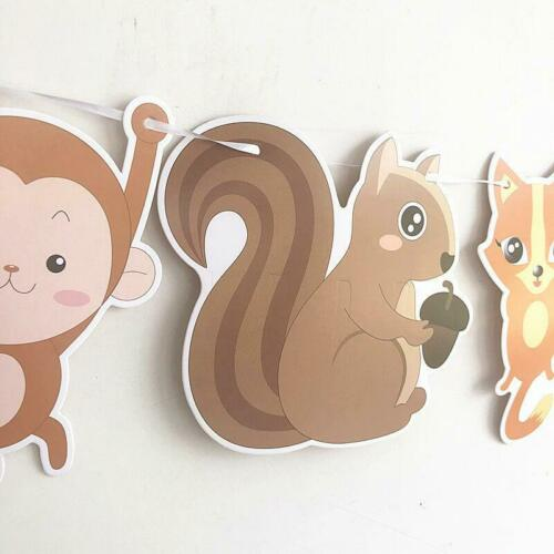 Woodland Animals Hanging Paper Banner Monkey Koala Squirrel Owl Jungle Party