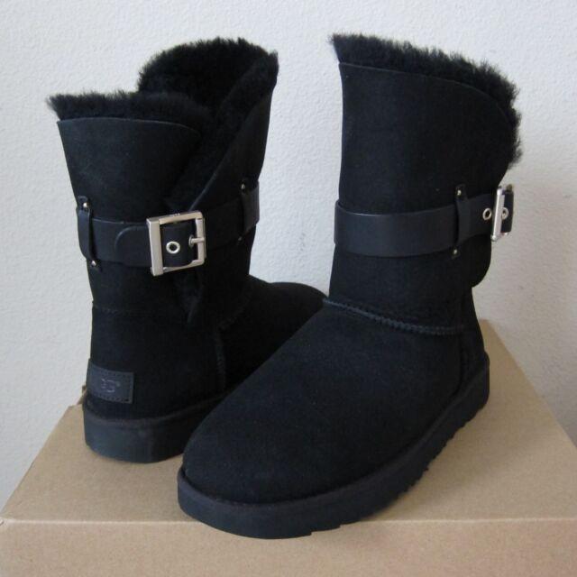 70314102461 UGG Australia Jaylyn Leather Black Twinface Sheepskin BOOTS Shoes US 7 EU  38 NWB