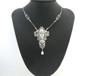 Art-Nouveau-Estilo-Vintage-Lady-muncha-agua-dulce-collar-de-perlas-amp-imitacion