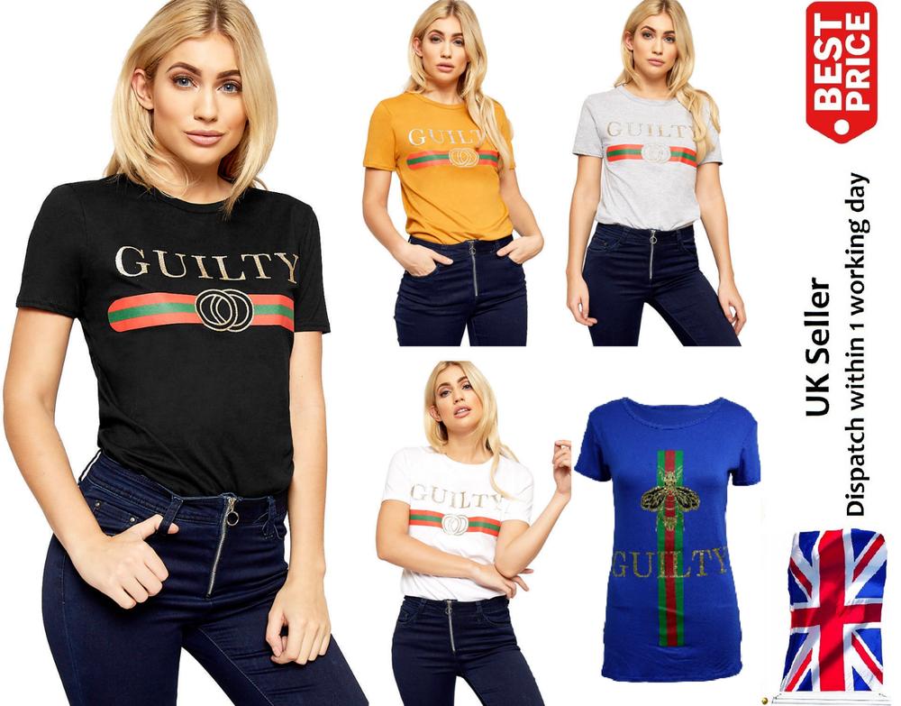AgréAble Femme Femmes Célébrité Coupable Designer Haut Décontracté Slogan à Rayures T-shirts Plus Peut êTre à Plusieurs Reprises Replié.