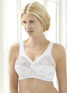 NEW-SEALED-Embroidered-Bra-56C-56-C-FULL-FIGURE-Support-WIDE-STRAPS-White-45