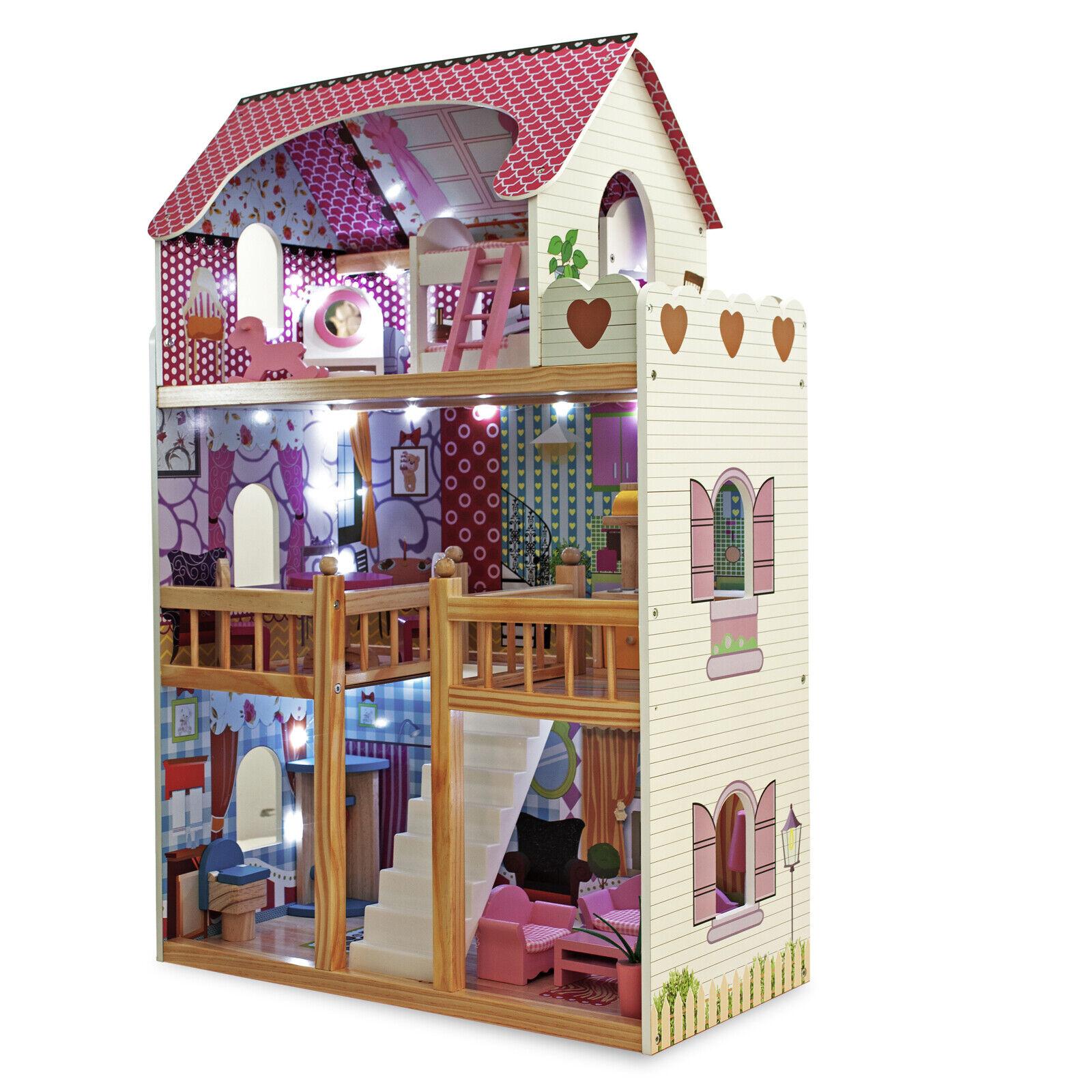 Spielzeughaus Puppenhaus Puppenstube Puppenmöbel Puppenvilla mit LED Beleuchtung