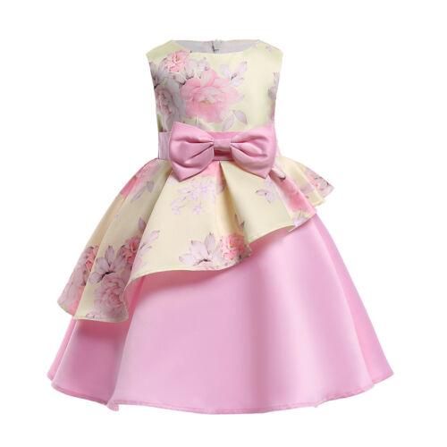 Baby Kids Girls Dress Toddler Princess Party Pageant Summer Floral Tutu Dress