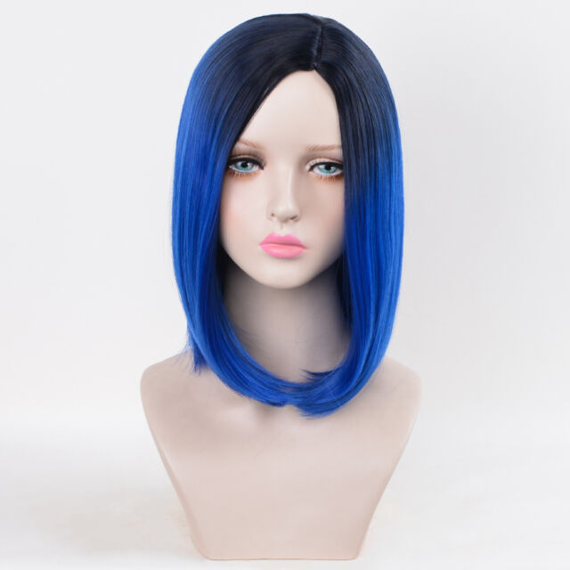 Medium Bob Wigs Hairstyles Mob Haircuts L-parting Dark Blue Ombre ...