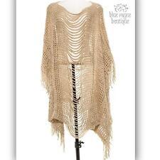 Asymmetrical Beige Bohemian Gypsy Fringed Open Knit Festival Shawl Poncho Ruana