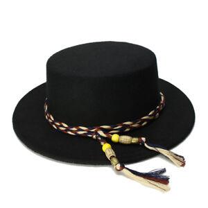Kid Child Wool Wide Brim Pork Pie Porkpie Bowler Hat  Twist Tassel Rope Band 54