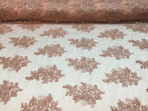 Lace Fabric Embroidered Sequin Mesh Flower  Wedding Dress By The Yard Blush Pink