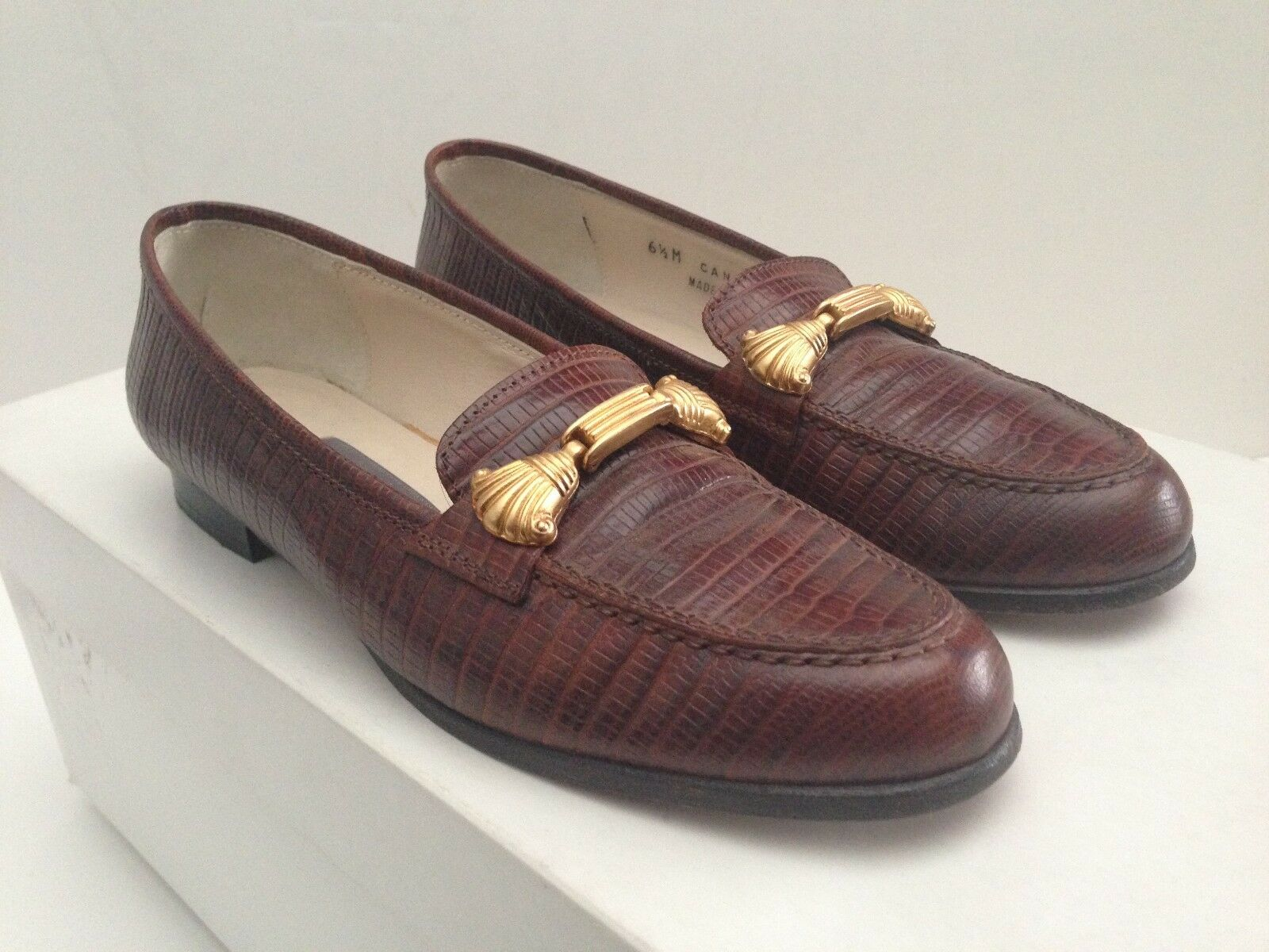 BALLY donna LIZARD SKIN LEATHER LOAFERS oro TONE BRAIDED PATTERN VAMP Dimensione 6.5