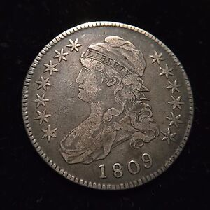 1809-Capped-Bust-Silver-Half-Dollar-Choice-XF-Extremely-Fine-Overton-Type