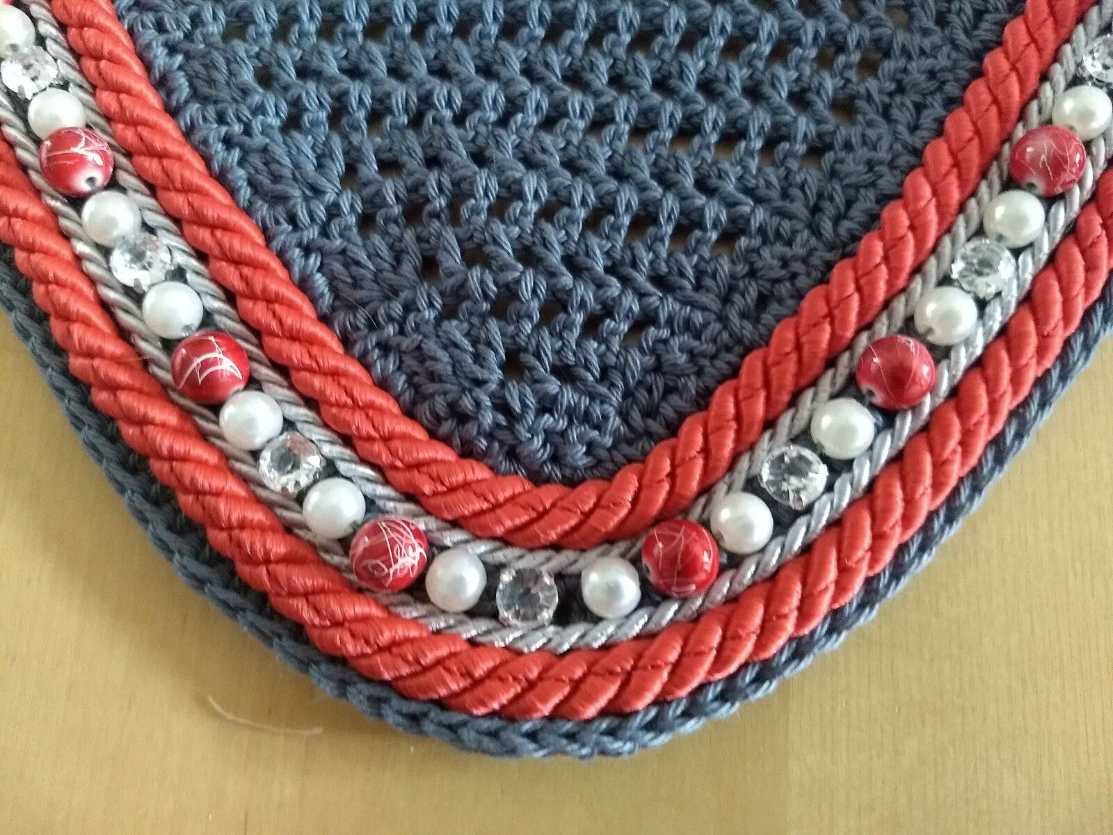 Fly hood   flying ears grau rhinestone beads Warmblood exceptionally - new