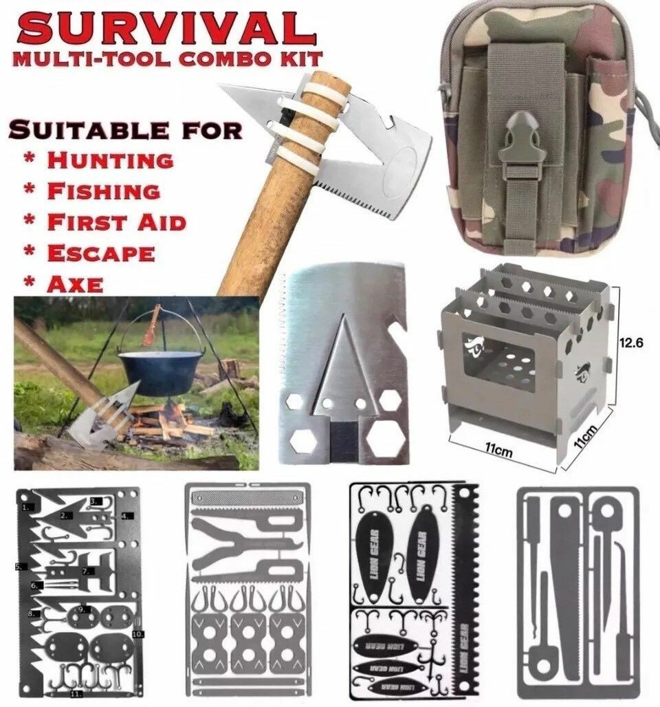EDC Survival Multi Tool Combo Kit With Green   Camo Belt Pouch FREE DELIVERY