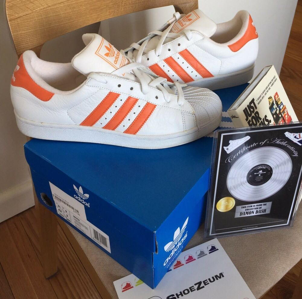 Certified Dame Dash Owned Vintage Adidas Superstar 10 Stan Smith blanc Orange