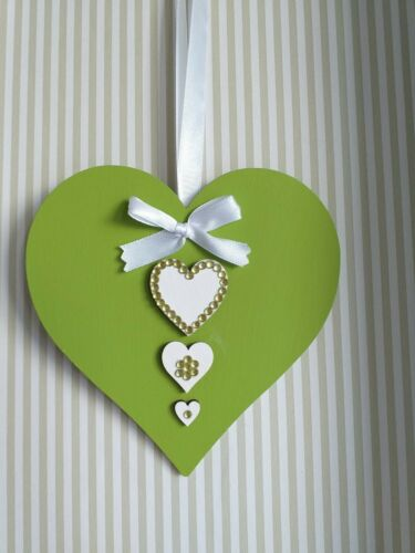 Lime Green /& White Wooden Hanging Heart Decoration Ornament Any Colours