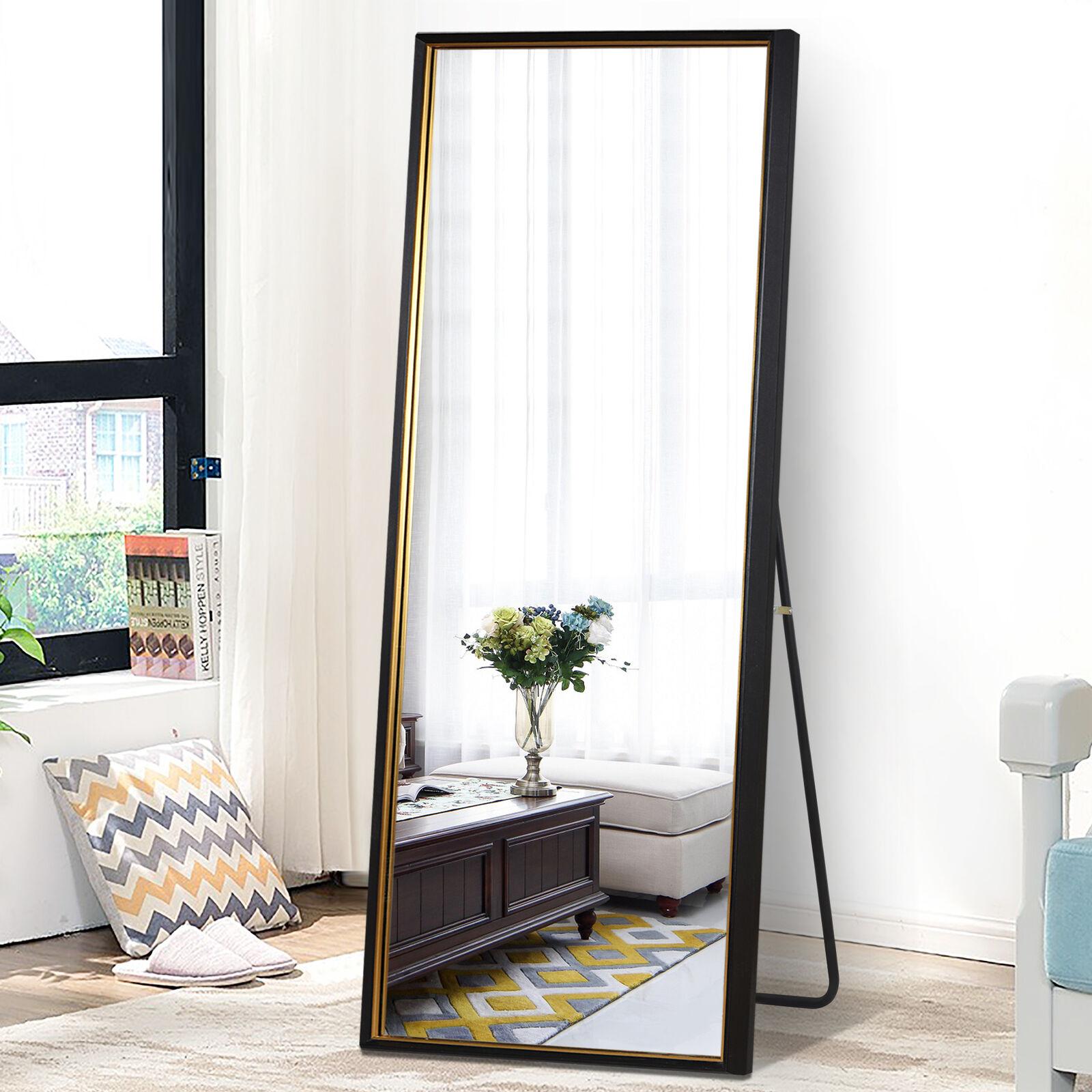Pexfix 65 X22 Full Length Mirror Standing Floor Mirror Modern Black Gold For Sale Online Ebay