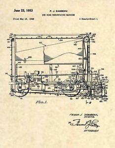 Zamboni-Official-US-Patent-Art-Print-Vintage-Original-Ice-Hockey-Rink-NHL-260