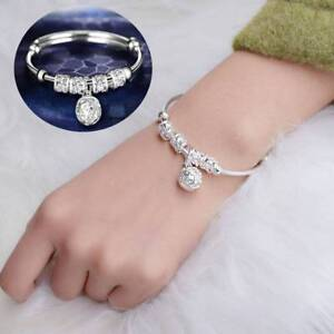 Women-Silver-Plated-Beads-Bell-Pendant-Adjustable-Bracelet-Bangle-Gifts-Jewelry