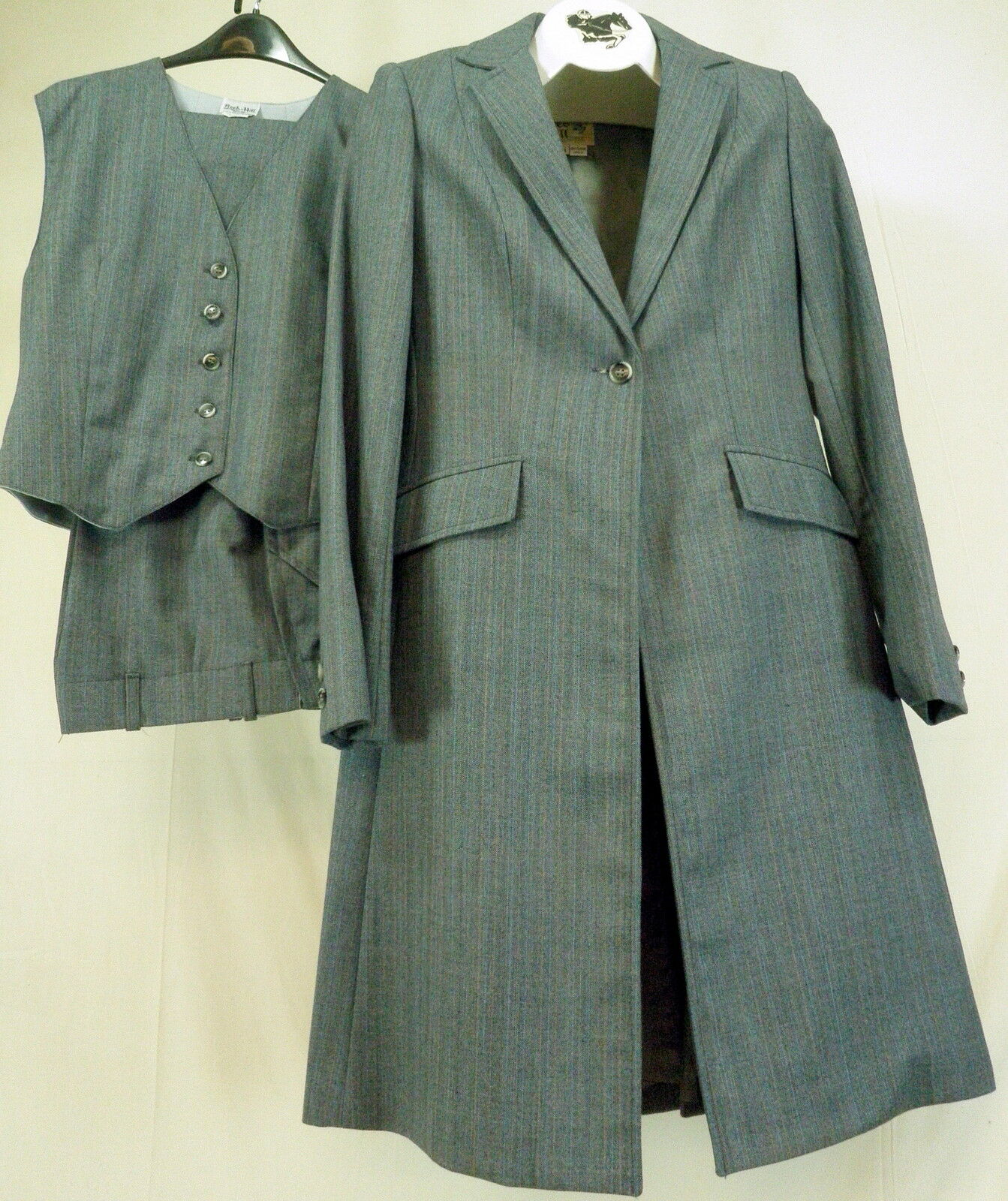 Reed Hill  Ladies Saddleseat suit 3 pc Grey Multistripe wool blend 10 Made in USA  online