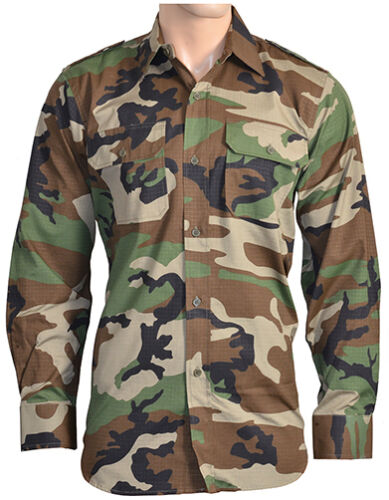 Military RIPSTOP FIELD SHIRT All Sizes WOODLAND CAMO Cotton Army Camouflage Top
