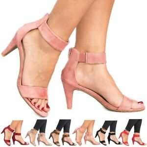 US-Womens-Kitten-Mid-Heels-Ladies-Ankle-Strap-Sandals-Zipper-Casual-Shoes-Size