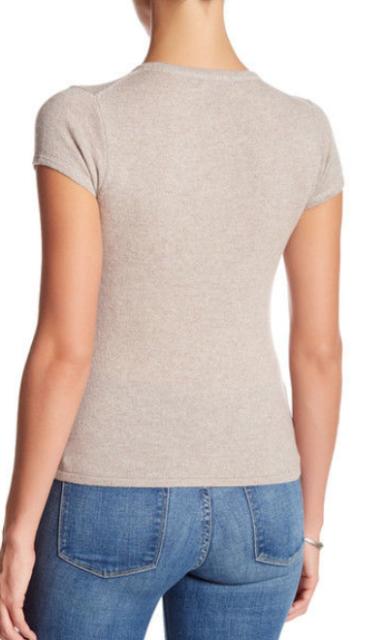 SALE NWT $118 PREMISE 100/% Cashmere Short Sleeve Sweater GREY XL