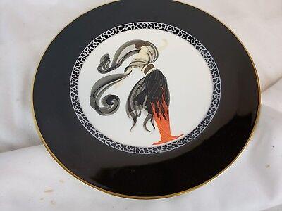 """Other Antique Decorative Arts Erte 11"""" """"flames D'amour"""" Art Deco Plate A3053 Japan Bone China 1985"""