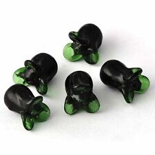 5pcs Cubic Zirconia MURANO GLASS Black/Green Cabbage BEADS Charms A2652