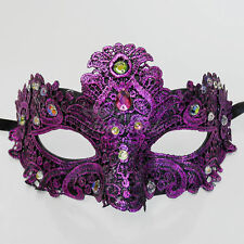 Venetian Mardi Gras Masquerade Mask Lace for Women w/ Gems [Purple]