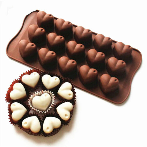 15 Love Heart Silicone Mould Romantic Wedding Chocolate Cake Baking Icing Ice