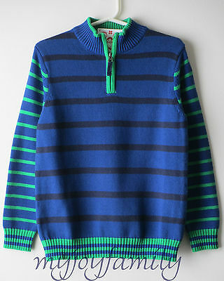 HANNA ANDERSSON Stand Up Cozy Sweater Stripe Marine Blue Navy 140 10 NWT