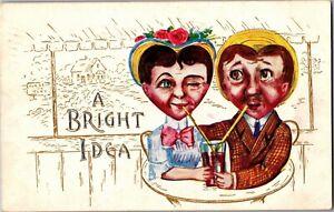 Heart-Shaped-Heads-Sharing-a-Soda-Bright-idea-Vintage-Postcard-N20