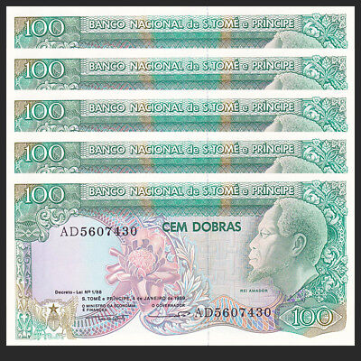 100 Dobras UNC St Thomas /& Prince Original 1989 Banknotes P-60