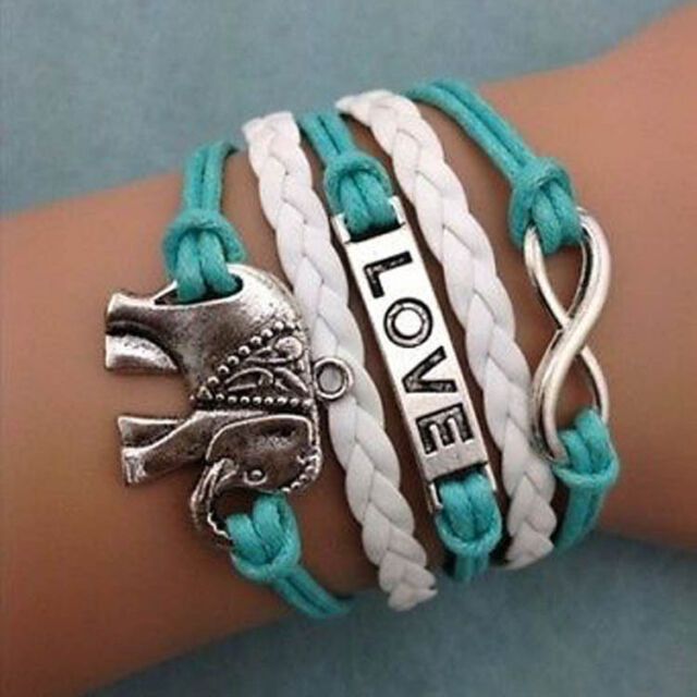 Hot Fashion Infinity Love Elephants Leather Charm Bracelet plated Silver DIY New