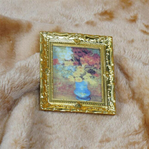 Details about  /1:12 Dollhouse Doll House Miniature Oil Painting Flower Room Furniture Decor ♫
